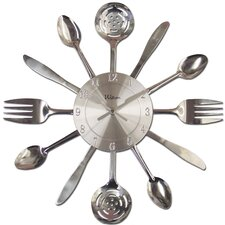 "15"" Quartz Fork and Knife Shaped Hands Utensil Style Case Wall Clock"