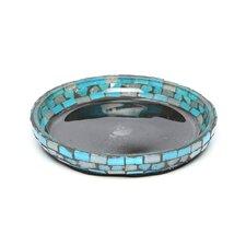 Blue Moon Glass Pillar Plate Candle Holder