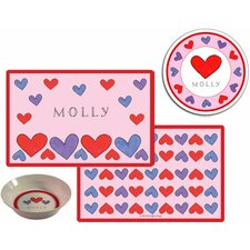The Kids Tabletop 2 Piece Happy Hearts Placemat Set