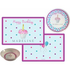The Kids Tabletop 3 Piece Birthday Cupcake Placemat Set