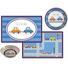 The Kids Tabletop 3 Piece Vroom Vroom Placemat Set