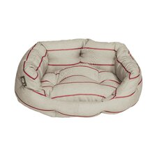 Heritage Herringbone Deluxe Slumber Pet Bed in Ivory and Red