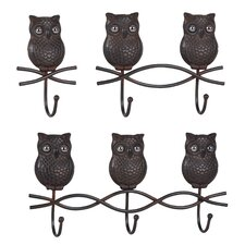 Metal Owl Wall Hook (Set of 3)