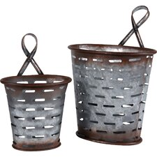 Metal Olive Wall Bucket (Set of 2)