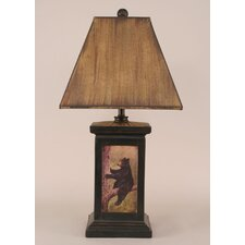 "Rustic Living Square Pot 30"" H Table Lamp with Square Shade"