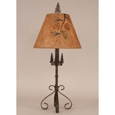 "Rustic Living Iron S-Leg Pine Tree 29.5"" H Table Lamp with Empire Shade"
