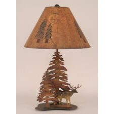 "Rustic Living Iron Deer 28.5"" H Table Lamp with Empire Shade"