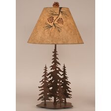 """Rustic Living Iron Pine Trees 33"""" H Table Lamp with Empire Shade"""