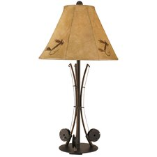 "Rustic Living Iron 3-Fishing Pole 34"" H Table Lamp with Empire Shade"