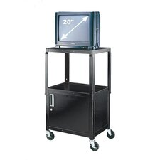 Adjustable Height AV Cart with Locking Cabinet