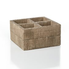 French Market Square Cement Wood Crate Container