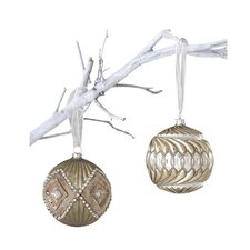 Winter Sage Holiday 2 Piece Diamond Glass Ball Christmas Ornament Set (Set of 6)