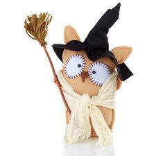 Halloween Folk Art Cloth Standing Owl Decoration (Set of 3)