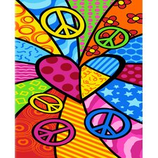 Peace Heart Print Beach Towel