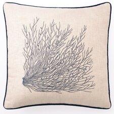 Embroidered Sea Grass Linen Throw Pillow