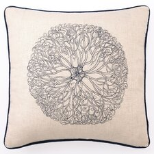 Embroidered Anemone Linen Throw Pillow