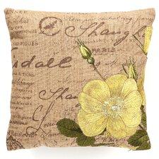 Embroidered Tea Rose Linen Throw Pillow