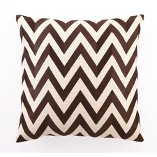 Embroidered Zig Zag Linen Throw Pillow