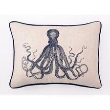 Embroidered Octopus Linen Throw Pillow