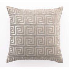 Embroidered Greek Key Linen Throw Pillow