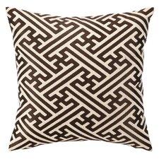 Embroidered Cross Hatch Linen Throw Pillow