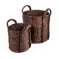 Patina Water Hyacinth Bucket Basket (Set of 2)