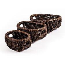 Patina Oval Water Hyacinth 3 Piece Basket Set