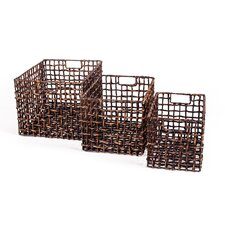Patina Water Hyacinth 3 Piece Storage Basket Set
