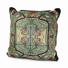 Arts and Crafts Thistle and Rose Bud Throw Pillow