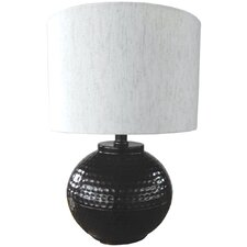 """Hammered Metal 18"""" H Table Lamp with Drum Shade"""
