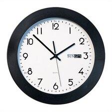 "Round Calendar Wall Clock 11"" Diameter with Black Plastic Bezel"