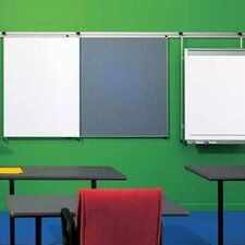 Tactics Plus® Wall Track with Display Rail and Writing Surface Wall Mounted Whiteboard, 4' x 8'