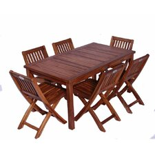 Classic Kids' 7 Piece Teak Table and Folding Chair Set