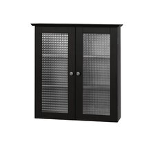 Chesterfield Wall Cabinet with Two Glass Doors in Dark Espresso