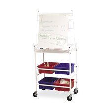 Easel Cart W/Wheels, 4 Tubs for Storage, Dry-Erase Surface