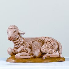 "18"" Scale Sitting Sheep Figurine in Brown"