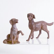 Two Piece Dog Figurine Set