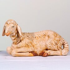 "27"" Scale Head Turned Sitting Sheep Figurine"