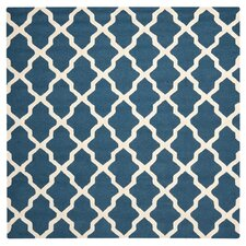 Cambridge Lattice Navy Blue & Ivory Area Rug