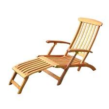 Royal Tahiti Balau Folding Patio Steamer Lounge Chair