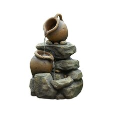 Polyresin & Fiberglass Tiered Pots Fountain