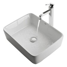 Ceramic Rectangular Bathroom Sink & Ramus Single Lever Faucet