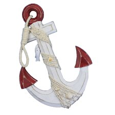 Rustic Anchor with Hook Rope and Shells Sculpture