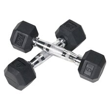 Pair of Rubber Coated Hex Dumbbells
