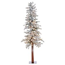 5' Flocked Spruce Alpine White Artificial Christmas Tree with 250 Clear Lights