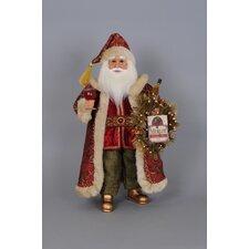 Christmas Wine Santa Figurine with Lighted Wreath