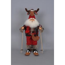 Christmas Moose Hat Ski Santa Figurine