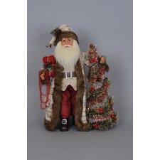Christmas Lighted Woodland Elegance Santa Figurine