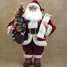 Christmas Lighted Vintage Gift Bag Santa Figurine