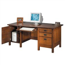 "Craftsman Home Office 72"" W Computer Modesty Computer Desk"